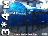 Беседка с мангалом №3-9 Черно-синяя 3*4 метра